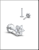 14KT White Gold Labret Style Nose Monroe Stud 5mm Flower Genuine Diamonds 16G