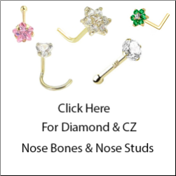 Diamond and CZ Yellow Gold Nose Bones & Nose Studs