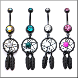 "**BLOW OUT SALE** Surgical Steel Black PVD Navel Belly Button Ring 7/16"" Colorful Dream Catcher 14G"