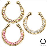 **BLOW OUT SALE** Fake Septum Clicker Hanger Clip On Gold Plated Non Piercing Nose Ring Hoop CZ