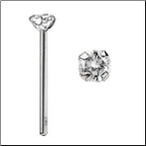 14KT White Gold Nose Stud 2.5mm Genuine Diamond -Choose Your Style FREE BACKING!!! 20G