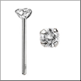 14KT White Gold Nose Stud 3mm Real Diamond -Choose Your Style FREE BACKING!!! 20G