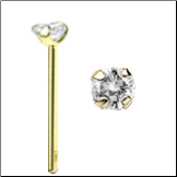 14KT Gold Nose Stud 3mm Genuine Diamond -Choose Your StyleFREE BACKING!!! 20G