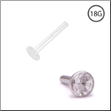 14KT White Gold Bioflex Labret Style Push Pin Nose Stud 2.25mm Bezel Set CZ 18G