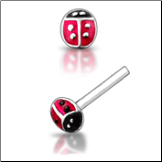 925 Sterling Silver Nose Studs Pins Straight or L Bend Lady Bug