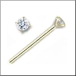 14KT Gold Straight Nose Stud 1.5mm Genuine Diamond Free Backing!! 20G