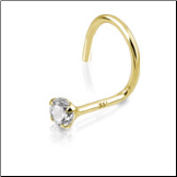 14KT Gold Nose Screw 2mm CZ 20G