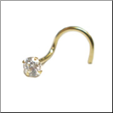 14KT Gold Nose Screw 3mm CZ 20G