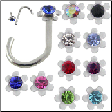 **BLOW OUT SALE** 316L Surgical Steel Nose Screw 3mm Flower -Choose Your Color 18G