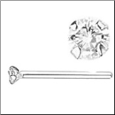 14KT  White Gold Straight Nose Stud 1.5mm Genuine Diamond 20G   Free Backing!