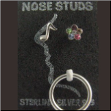 **BLOW OUT SALE** 925 Sterling Silver Nose Studs Pins Bones Mixed 3 Pack With Ring