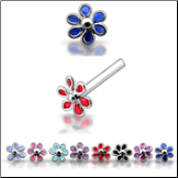 925 Sterling Silver Nose Studs Pins Straight or L Bend Dainty Flower