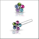 925 Sterling Silver Nose Studs Pins Straight or L Bend Spring Flower
