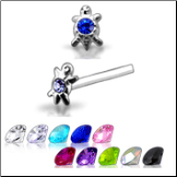 925 Sterling Silver Nose Studs Pins Straight or L Bend Turtle CZ