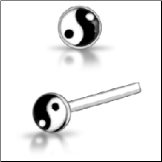 925 Sterling Silver Nose Stud Straight or L Bend Yin Yang