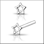 925 Sterling Silver Nose Stud Straight or L Bend Silver Hollow Star