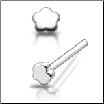 925 Sterling Silver Nose Stud Straight or L Bend Silver Flower 2.5mm