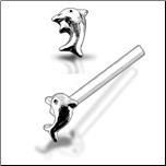 925 Sterling Silver Nose Stud Straight or L Bend Silver Dolphin