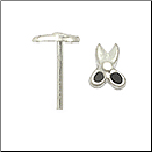 925 Sterling Silver Nose Stud Straight or L Bend Silver Scissors