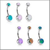 "316L Surgical Steel Navel Belly Button Ring 3/8"" Fire Opal Stones 14G"