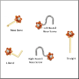 Custom Design Your ORANGE Flower Nose Ring Stud
