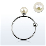 "925 Sterling Silver Nose Ring Hoop 5/16"" - 9mm with 3mm Pearl 22G"