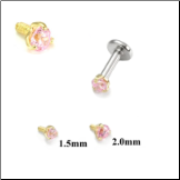 14KT Yellow Gold 316L Surgical Steel Labret Style Nose Monroe Stud Screw Post Pink CZ