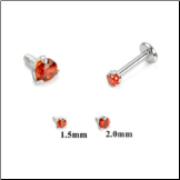 14KT White Gold 316L Surgical Steel Labret Style Nose Monroe Stud Screw Post Red CZ