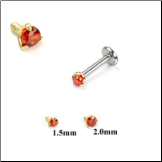 14KT Yellow Gold 316L Surgical Steel Labret Style Nose Monroe Stud Screw Post Red CZ
