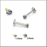 14KT Yellow Gold 316L Surgical Steel Labret Style Nose Monroe Stud Screw Post Sapphire CZ
