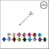925 Sterling Silver Nose Bone Tiny Micro Prong Set 1mm CZ 22G