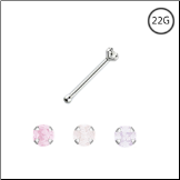 925 Sterling Silver Nose Bone Tiny Micro 1mm CZ Choose Your Color 22G