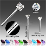 925 Sterling Silver Nose Studs Pins 2mm CZ-Choose Your Color 20G