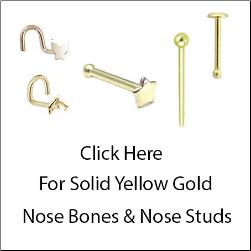 Solid Yellow Gold Nose Bones & Nose Studs