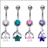 "**BLOW OUT SALE** 316L Surgical Steel Navel Belly Button Ring 3/8"" Star Dangle 14G"