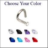 316L Surgical Steel Nose Screw 1mm Micro Gem- Choose Your Colors 20G