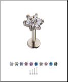 316L Surgical Steel Labret Style Nose Monroe Stud Screw Post Flower - Choose Your Size & Color 18G