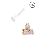 14KT Yellow Gold Bioflex Labret Style Push Pin Nose Stud 3.5mm Trinity 18G