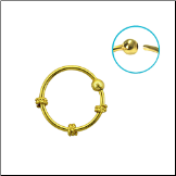 "Nose Ring 18KT Gold Plated Hoop 3 Wire 3/8"" 8.8mm 22G"