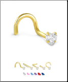 Yellow Gold Nose Jewelry Heart CZ -Choose Your Style