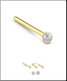 10KT Gold Straight or L Bend Nose Stud -Choose Your Size 22G