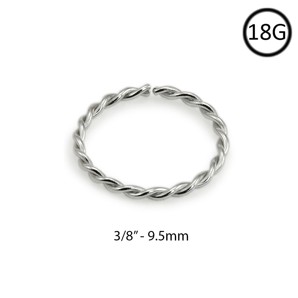 14kt white gold seamless nose ring continuous hoop twisted