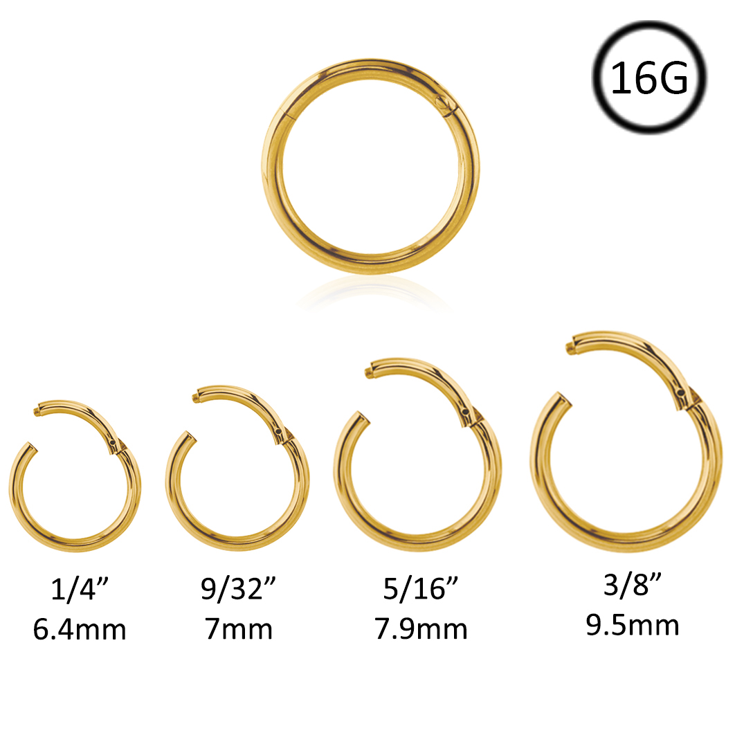 316l Surgical Steel Gold Plated Septum Clicker Daith Nose Ring