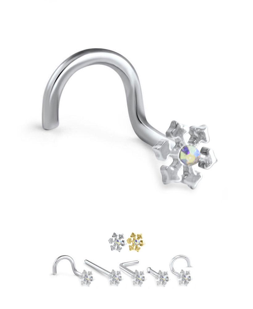 316L Surgical Steel Screw L Bend Bone Aurora CZ Snowflake Nose Stud Ring 20G