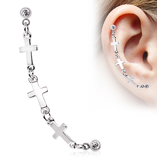 316l surgical steel ear cartilage jewelry cross link 16g for Helix piercing jewelry canada