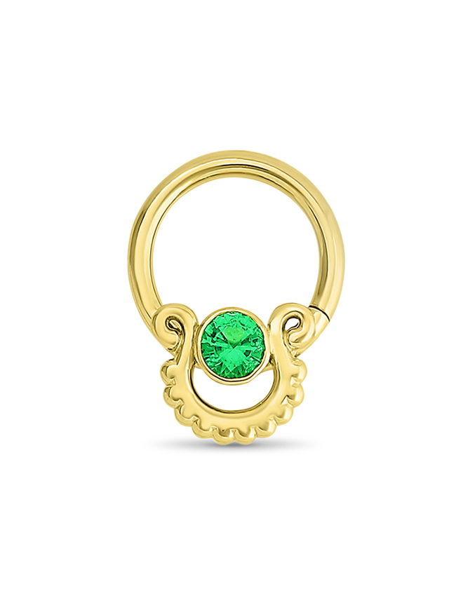 14KT Yellow Gold Septum Clicker Diath Ear Cartilage Emerald Nose ...