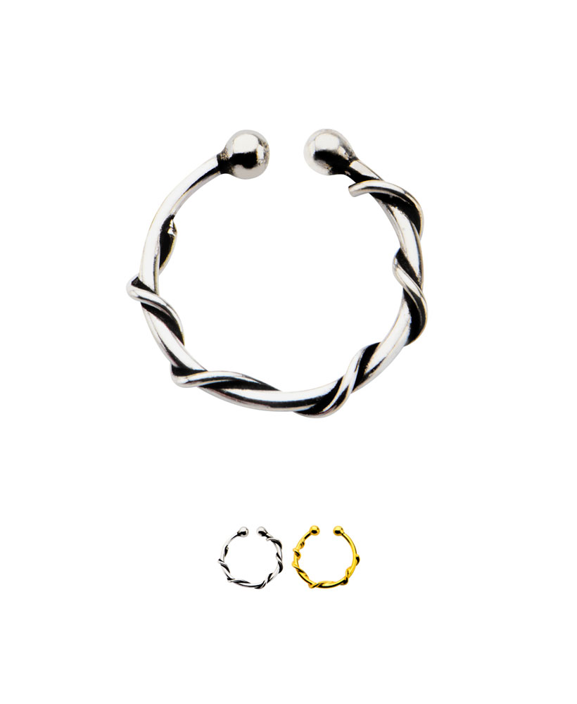 925 Sterling Silver Fake Septum Clicker Hanger Clip On Nose Ring