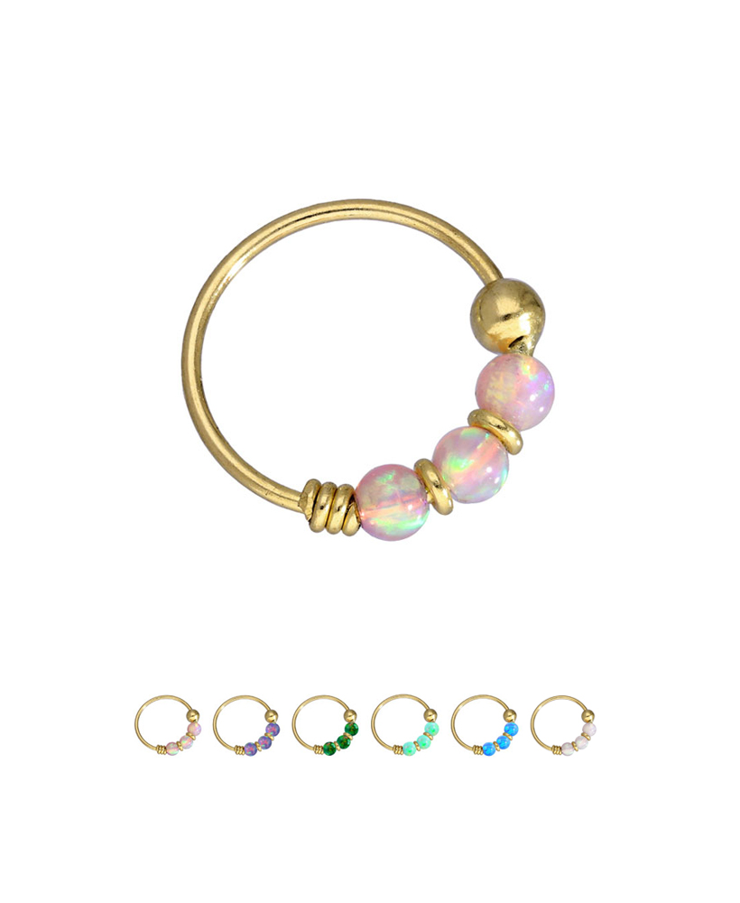 10kt Gold Nose Ring Hoop Fixed Faux Opal Beads 5 16 22g
