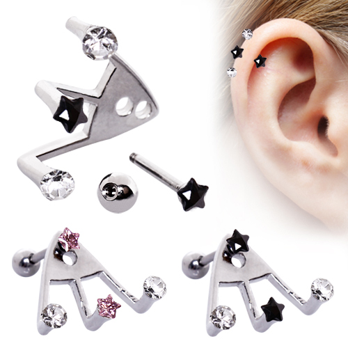 surgical steel ear cartilage lobe earring trident cz 18g