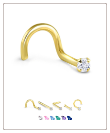 Yellow Gold Nose Jewelry 1.5mm Round CZ -Choose Your Style